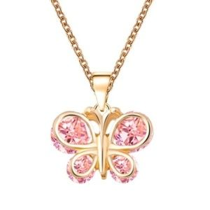 Girl's Pink Butterfly Necklace